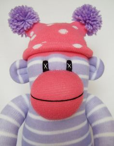 Pretty Pink & Lilac Stripe Sock Monkey made to order by Sunsetgirl