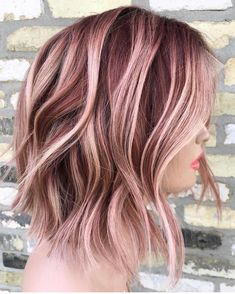26 trendy hair color curly ombre rose gold - All About Gold Hair Colors, Ombre Hair Color, Hair Color Balayage, Cool Hair Color, Hair Highlights, Rose Gold Hair Colour, Rose Gold Balayage Brunettes, Rose Gold Short Hair, Rose Gold Hair Brunette