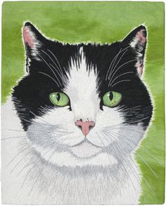 """Friso"" by Susan Brubaker Knapp.  Cat quilt with thread sketching."