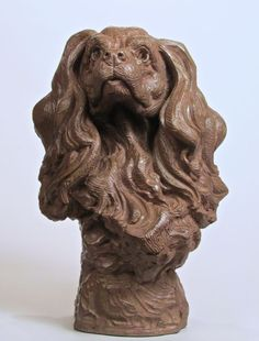 Bronze Animal Birds Fish Busts or Heads or Masks or Trophies For Sale or Commission #sculpture by #sculptor Wesley Wofford titled: 'Adoration (bronze Pet Cavalier King Charles Head Bust statue statuette)' #art