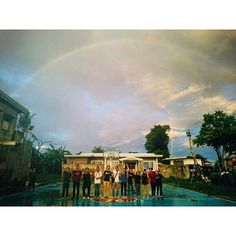 Mini summary  Rained . Prayed . Stopped . Rainbow  (in this pic). Double rainbow  . 5 ppl in night rally . Rained . 2 ppl . Prayed. Start . People came . Fireworks  . Salvation . Healing . This is our team!  #shannswongintacloban by shannswong