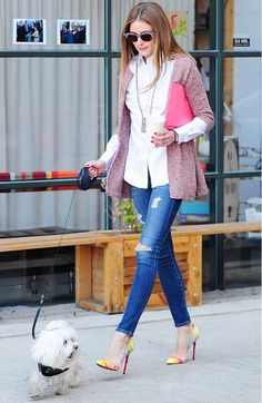 Olivia Palermo wears Adriano Goldschmied ankle legging Jeans and Christian Louboutin Pigalle Pumps! Like her outfit? (Photo credit: Who What Wear)