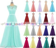 New Lace Evening Ball Gown Formal Party Prom Bridesmaid Dresses Stock Size 6-18