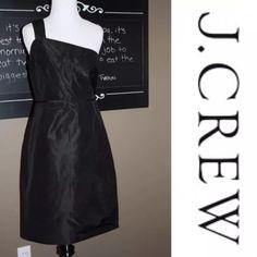 J.Crew One Shoulder Black Cocktail Dress Like new silk taffeta dress. Beautiful. J. Crew Dresses One Shoulder