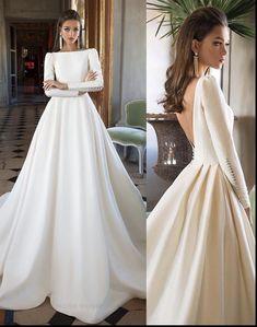Moda Woow 😍 4 or 5 ? dresses by . Princess Wedding Dresses, Best Wedding Dresses, Bridal Dresses, Wedding Dress Sleeves, Elegant Wedding Dress, Dresses With Sleeves, Satin Wedding Gowns, Ball Dresses, Ball Gowns