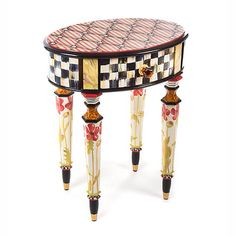 MacKenzie-Childs - Petite Poppy Table love this so much. Whimsical Painted Furniture, Painted Chairs, Hand Painted Furniture, Funky Furniture, Paint Furniture, Upcycled Furniture, Furniture Makeover, Painted Tables, Accent Furniture