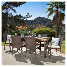 Corleone Outdoor Dining Set with Cushions by Christopher Knight Home (Brown with Beige), Size Sets, Patio Furniture (Acacia) Wicker Dining Set, Wicker Chairs, Outdoor Dining Set, Outdoor Living, Outdoor Decor, Patio Dining, Dining Sets, Dining Area, Dining Chairs