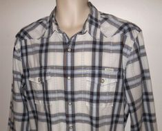 f7b782f0486 Lucky Brand Plaid Western Shirt L Pearl Snap Mens Blue White Large Long  Sleeve  LuckyBrand