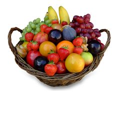 These fruit baskets contain a colorful array of fresh fruits