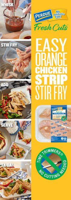 Enjoy this delicious Easy Orange Chicken Strip Stir-Fry recipe from Perdue. Orange Chicken Stir Fry, Easy Orange Chicken, Grilling Recipes, Cooking Recipes, Paleo Recipes, Indian Food Recipes, Ethnic Recipes, Chinese Recipes, Chinese Food