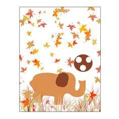 Nursery Art Elephant Nursery Decor autumn orange decor by gonulk #elephant #elephantdecor #nurserydecor #autumn #leaves #leaf #HomeDecor #WallDecor #WallArt  #Art #Etsy #Print #ArtPrint #HomeDecorating  #artprint #roominteriordecoration  #instantdownload #housewarming #printable