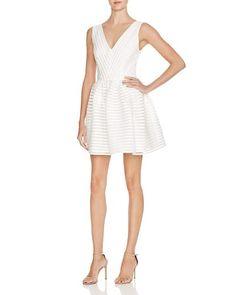 AQUA Mesh Neoprene Stripe Dress $98: Rehearsal dinner?