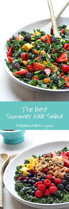 Perfect for BBQ, potluck or dinner side dish! INGREDIENTS Salad: 1 Bunch of Kale Finely Chopped (~ 4-5 Cups; I used Lacinato, but Curly Kale also works) 1 Cup Strawberries, Sliced 1 Cup Blackberries 1 Diced Peach ½ Cup Blueberries ½ Cup Rasperries ½ Cup Diced Mango 3 Tablespoons Dried Cranberries ¼ Cup Almonds ¼ Cup Walnuts Dressing: 3 Tablespoons Apple Cider Vinegar 2 Tablespoons Dijon Mustard 2 Tablespoons Honey (sub agave if vegan) 3 Tablespoons Olive Oil Salt and Pepper to taste