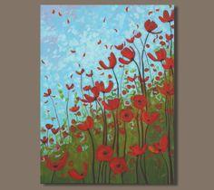 whimsical poppy painting red poppies poppy by SageMountainStudio