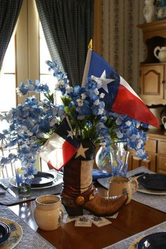 Like the Bluebonnets,and Texas Flags.  Would work in Mason jar with fewer flowers