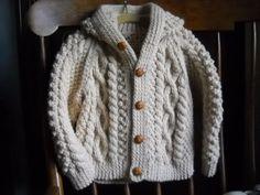 Baby Shower Gift: Irish Knit Hooded Sweater by CedarHillKnits on Etsy, $35.00