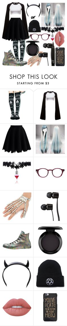 """""""Ophelia CrystalSoulstice OC"""" by dappershadow ❤ liked on Polyvore featuring Killstar, Puma, Chicwish, Converse, Vans, MAC Cosmetics, Club Exx and Lime Crime"""