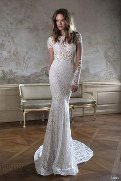 berta bridal fall 2015 illusion long sleeve high neck lace wedding dress