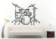 Music Musical Instruments Drums Drum Set Wall Decal Vinyl Sticker Mural Room Decor L724