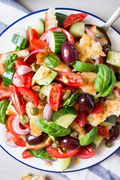 summer Panzanella salad close up