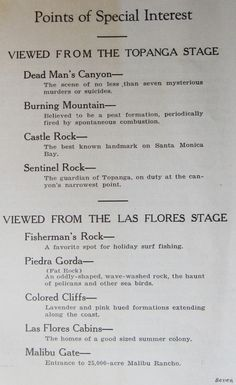 Points of Special Interest, viewed from the Topanga and Las Flores stages.