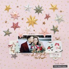 """Are you looking for fun inspiration to celebrate a festive wedding? This December wedding layout was created with the wonderful """"Snowflake"""" collection from Crate Paper. Christmas Projects, Christmas Photos, Christmas Layout, Christmas Cards, And So It Begins, Crate Paper, Specialty Paper, Christmas Scrapbook, Paper Stars"""