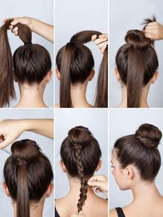 Dutt mit Flechtzopf If a normal bun is too boring: Tie a high ponytail and then wrap a bun using a d Girl Hairstyles, Braided Hairstyles, Wedding Hairstyles, Ballet Hairstyles, Layered Hairstyle, Medium Hairstyles, Mixed Hairstyles, Donut Bun Hairstyles, Quinceanera Hairstyles