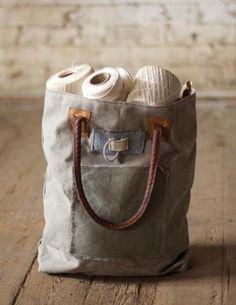 Canvas bag made w/leather handle! #UrbanesqueBoutique