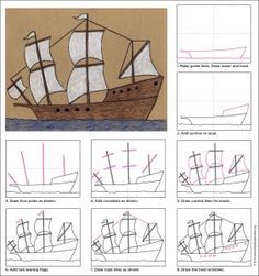 Step by step instructions on  how to draw a ship.I will use it with my grade 5s…