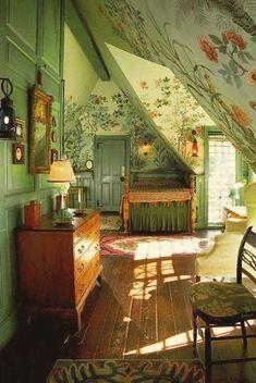 Twitter Dream Rooms, Dream Bedroom, Room Ideas Bedroom, Bedroom Decor, Cottage In The Woods, Aesthetic Room Decor, Aesthetic Green, Cool Rooms, House Rooms