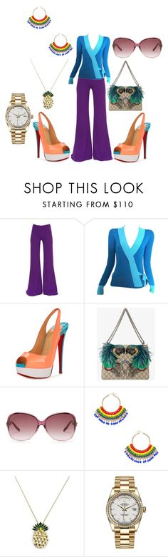"""Untitled #7541"" by billyblaze ❤ liked on Polyvore featuring Gareth Pugh, Jean-Paul Gaultier, Christian Louboutin, Gucci, Miguel Ases, Anton Heunis and Rolex"