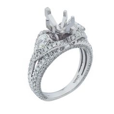 18k White Gold Marquise Diamond Engagement Ring Setting  1.50ct  Size 6 #UniQJewels #SolitairewithAccents
