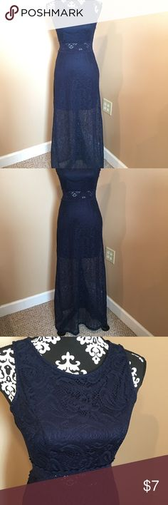Preowned navy lace maxi size small rue 21 Preowned rue 21 lace maxi dress navy blue see thru around waist area side zipper see thru lace on back side top size small Rue 21 Dresses Maxi