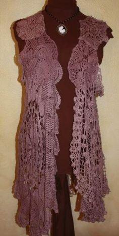 Doily Vest Smokey Purple - Open Front