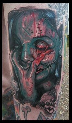Scars and empty eyes zombie tattoo