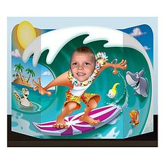 The Surfer Dude Photo Prop is a great way to create memorable photos of your little surfer dude's birthday party. The surfer photo prop is 37 x 25 and also makes a boglius centerpiece.