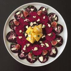 Purple Salad. Roasted Beetroot, Figs, Dragonfruit, Sweet Pickled Onion Slivers, Yellow Watermelon, Feta, Extra Virgin Olive oil