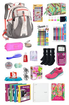 """""""Back to school essentials"""" by cb14 ❤ liked on Polyvore featuring NIKE, Vera Bradley, Paper Mate, Marc by Marc Jacobs, Sharpie, Neutrogena, Urban Outfitters, Eos, Playtex and Lilly Pulitzer"""