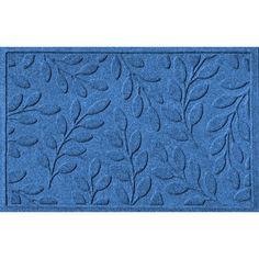 WaterGuard Brittany Leaf Indoor Outdoor Mat, Med Blue
