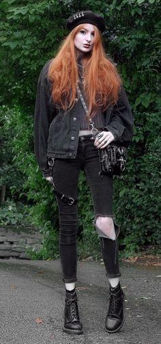 Beret with denim jacket, sweater, ripped pants & combat boots by oliviaemilyx - #fashion #grunge #alternative
