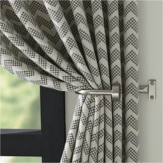 Reilly Grey Chevron Curtain Panel - Crate and Barrel Lounge Curtains, Living Room Decor Curtains, Modern Curtains, Drapes Curtains, Curtain Panels, Grey Curtains Bedroom, Curtains For Bedroom, Ready Made Eyelet Curtains, Living Room Grey