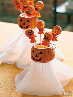 DIY Pumpkin with Lollipop Ghost for Kids - 30  Creative Halloween Ideas  <3 !