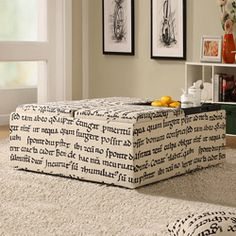 @Overstock - This latin script storage ottoman is the perfect addition to any home decor.  Store any blankets or pillows inside.  http://www.overstock.com/Home-Garden/Decor-Storage-Latin-Script-Linen-Ottoman/6192883/product.html?CID=214117 $143.99