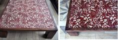"""Design table """"Red Flourish""""- is a combination of dark oak and deco series """"Textil Red Flourish"""" made of natural Peruvian travertine."""