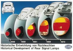 """Evolución de faros traseros Hella para VW typ 1. Falta el conocido como """"heart tail light"""" 1952-1954"""