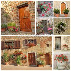 colagem de portas floridas para a Toscana abriga — Imagem Stock #10016479