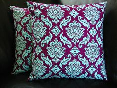 "DAMASK Accent Pillow Covers set of TWO 20 x 20 inch Toss PIllows 20"" Joel Dewberry Aviary 2 Plum & Aqua"