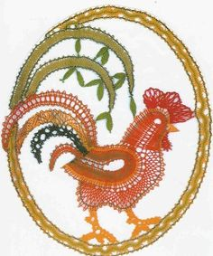 Easter decoration by Jarka Chicken Pattern, Types Of Lace, Bobbin Lace Patterns, Lacemaking, Lace Heart, Lace Jewelry, Irish Crochet, String Art, Pet Birds