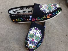 Los de la Muertos Day of the Dead Sugar Skull TOMS with mega bling added in this selection Calaveras by dreaminbohemian on Etsy