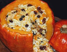 Ghapama is a traditional eastern Armenian food, often served during new years and Christmas. It is pumpkin stuffed with rice, dried fruit, raisins, etc.